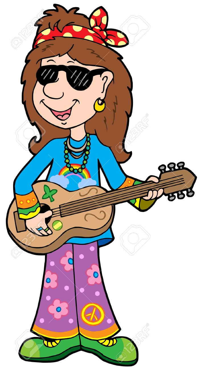 Cartoon hippie musician - vector illustration. Stock Vector - 4574118