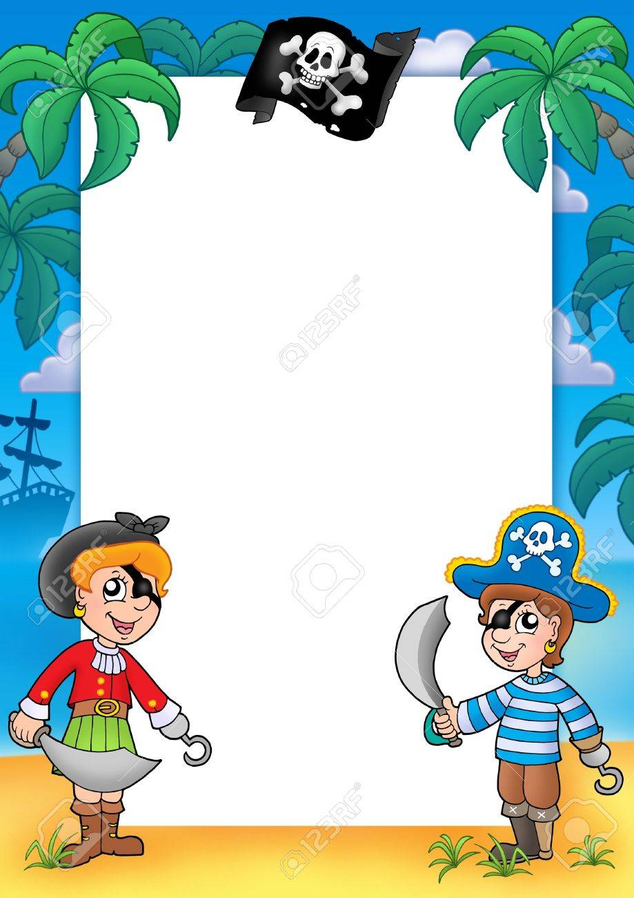 Frame With Pirate Boy And Girl - Color Illustration. Stock Photo ...