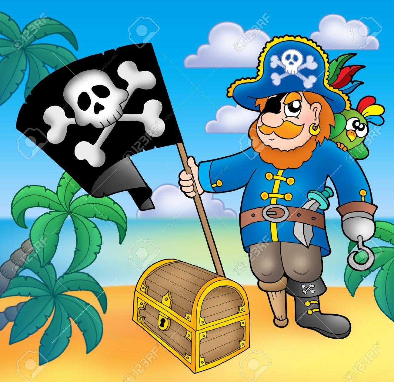 Con Bandera Pirata En La Playa - Color Ilustración. Fotos, Retratos ...
