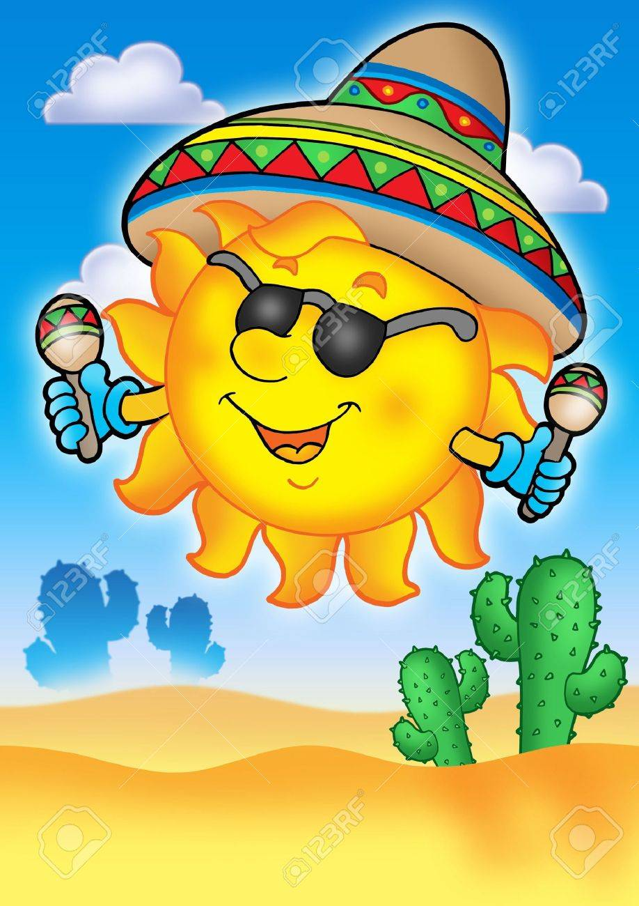 mexican sun on blue sky color illustration stock photo picture