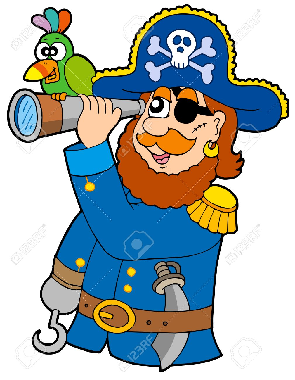 Pirate with spyglass and parrot - vector illustration. Stock Vector - 4743355