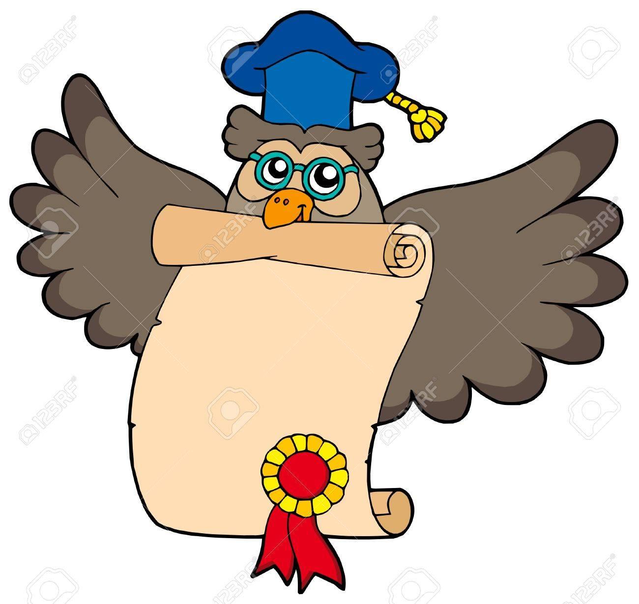 Owl teacher with diploma - vector illustration. Stock Vector - 4762378