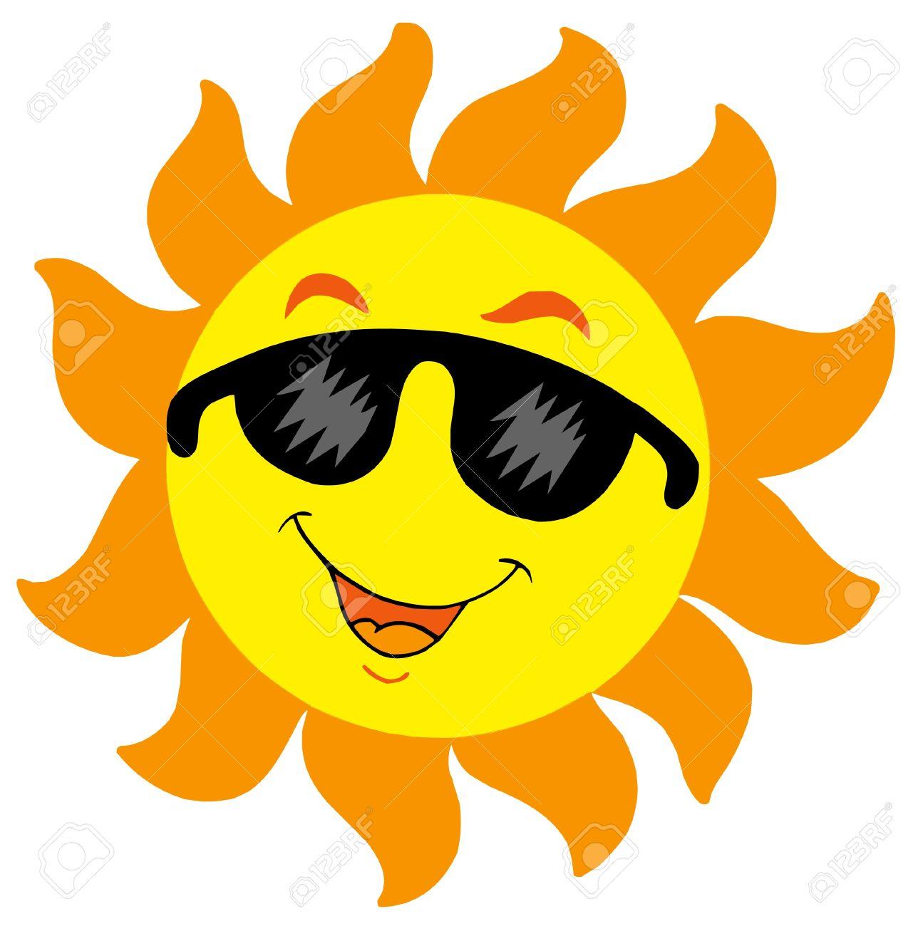 Caricatura Sol Con Gafas De Sol - Ilustración Vectorial ...
