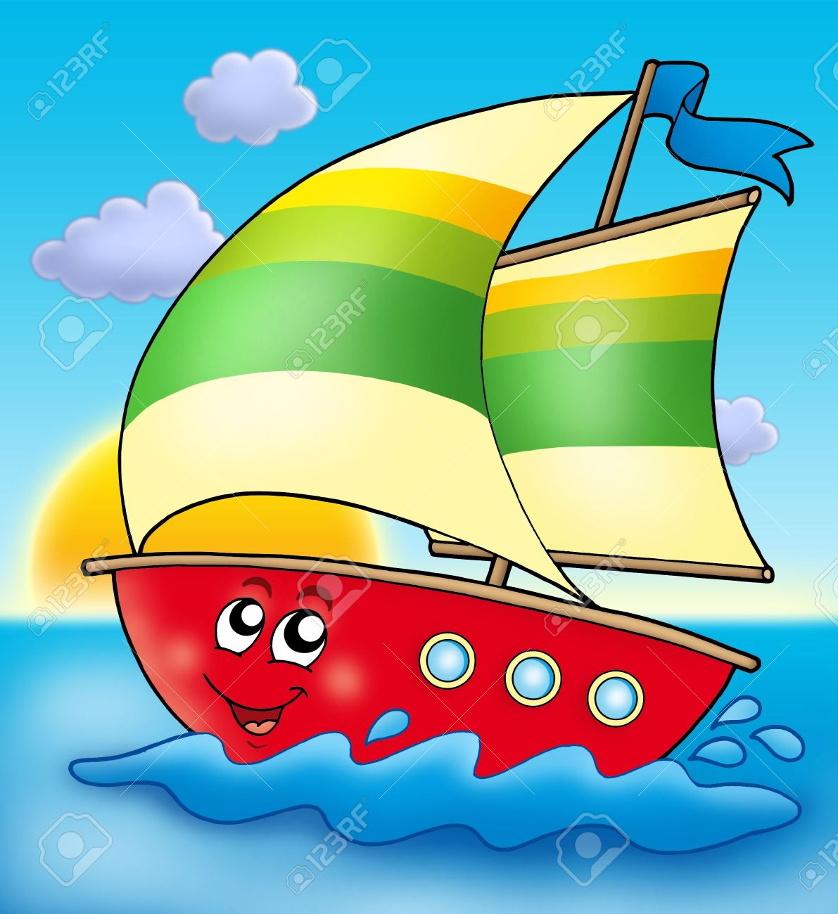 Cartoon sailing boat with sunset - color illustration. Stock Photo - 4874128