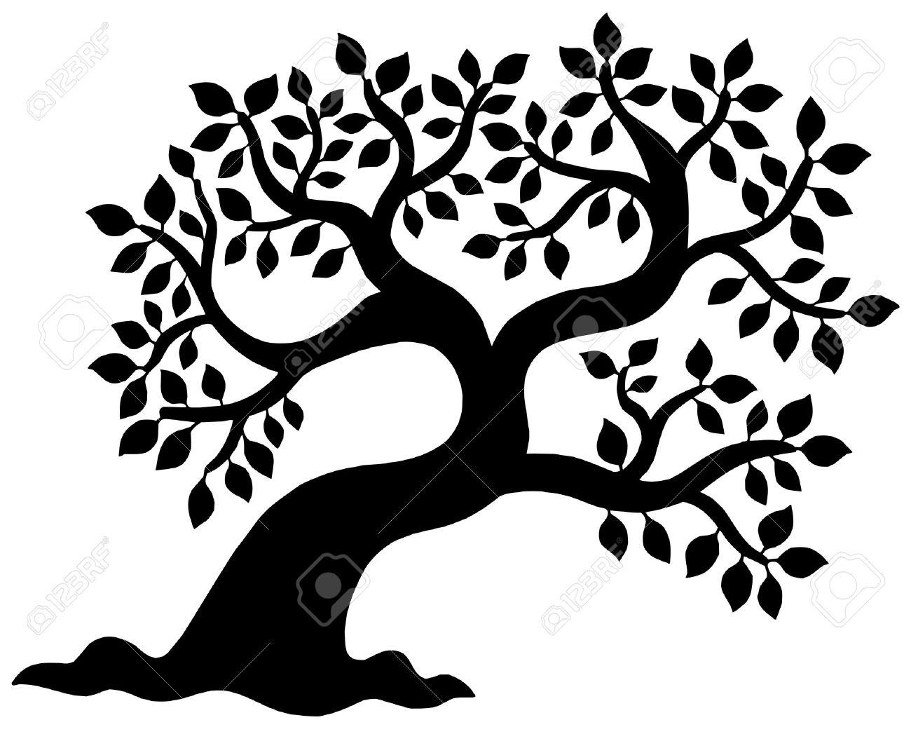 leafy tree silhouette vector illustration royalty free cliparts rh 123rf com tree silhouette vector free tree silhouette vector download