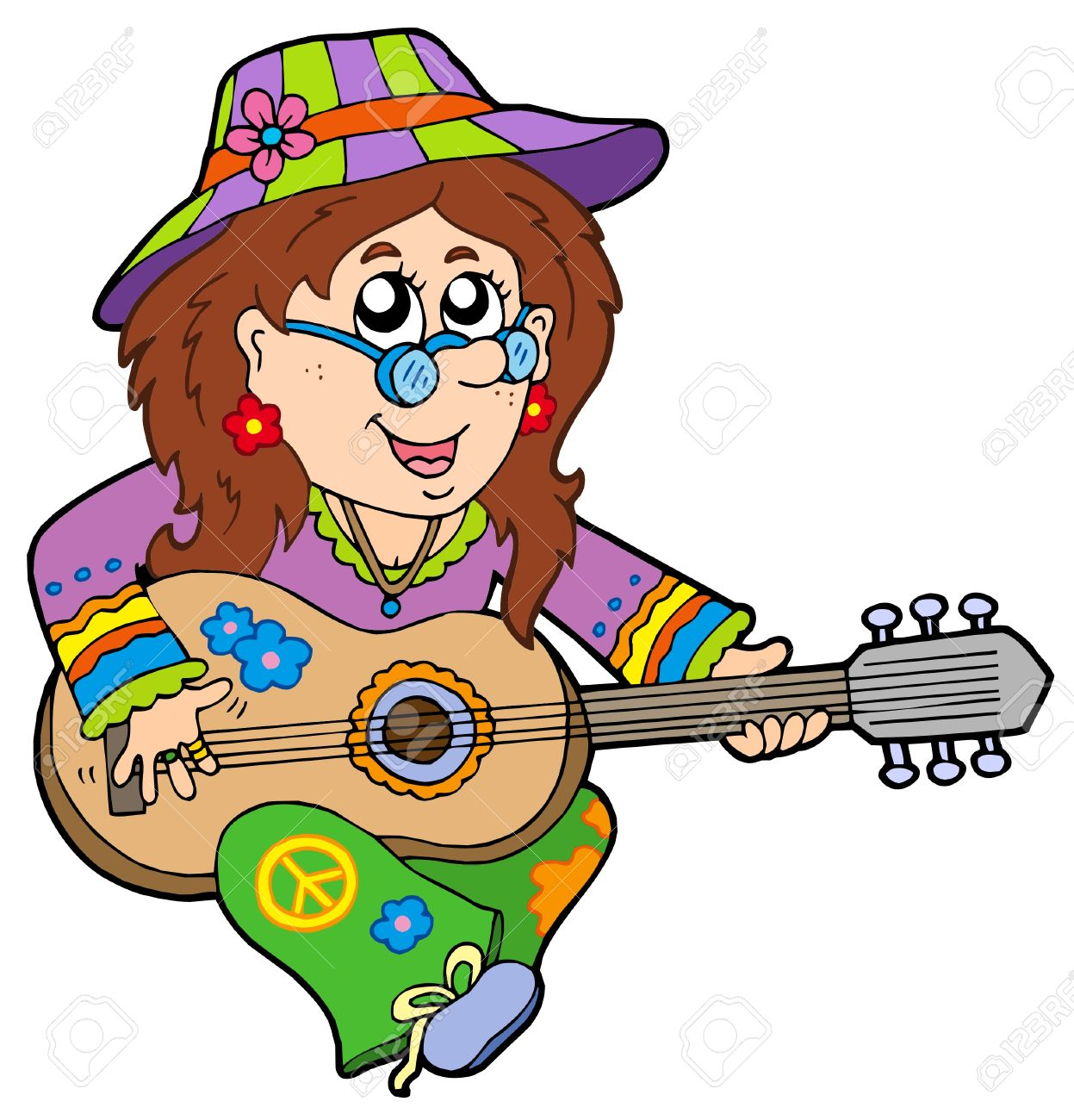 Hippie Guitar Player - Vector Illustration. Royalty Free Cliparts ...