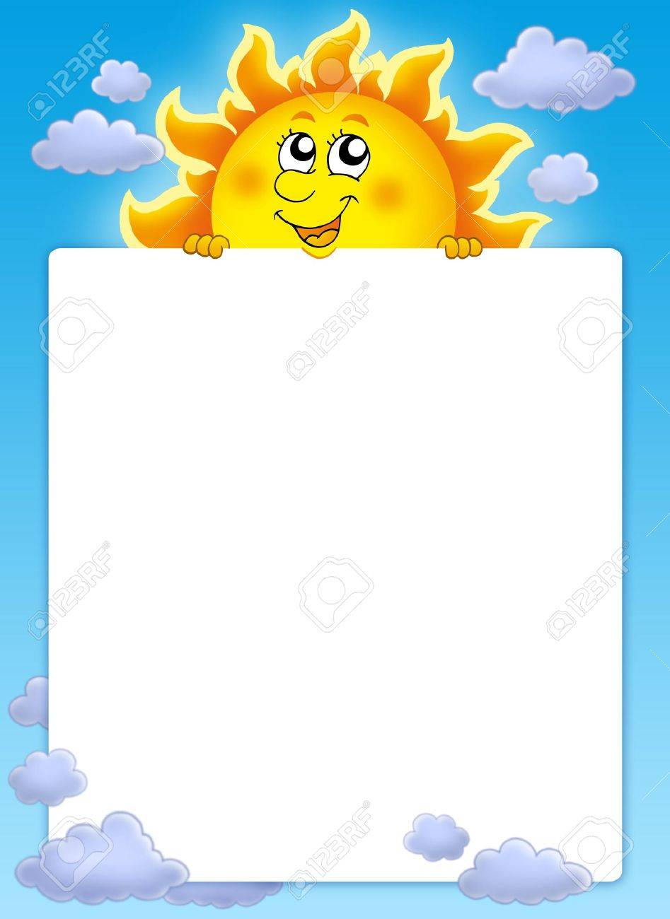 Frame with cute lurking Sun - color illustration. Stock Illustration - 5054529
