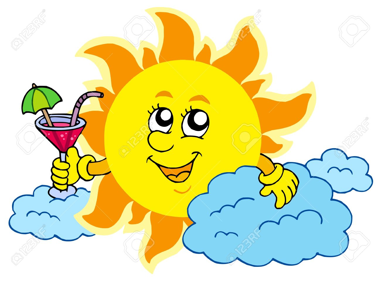 5078838-sun-with-drink-vector-illustration-