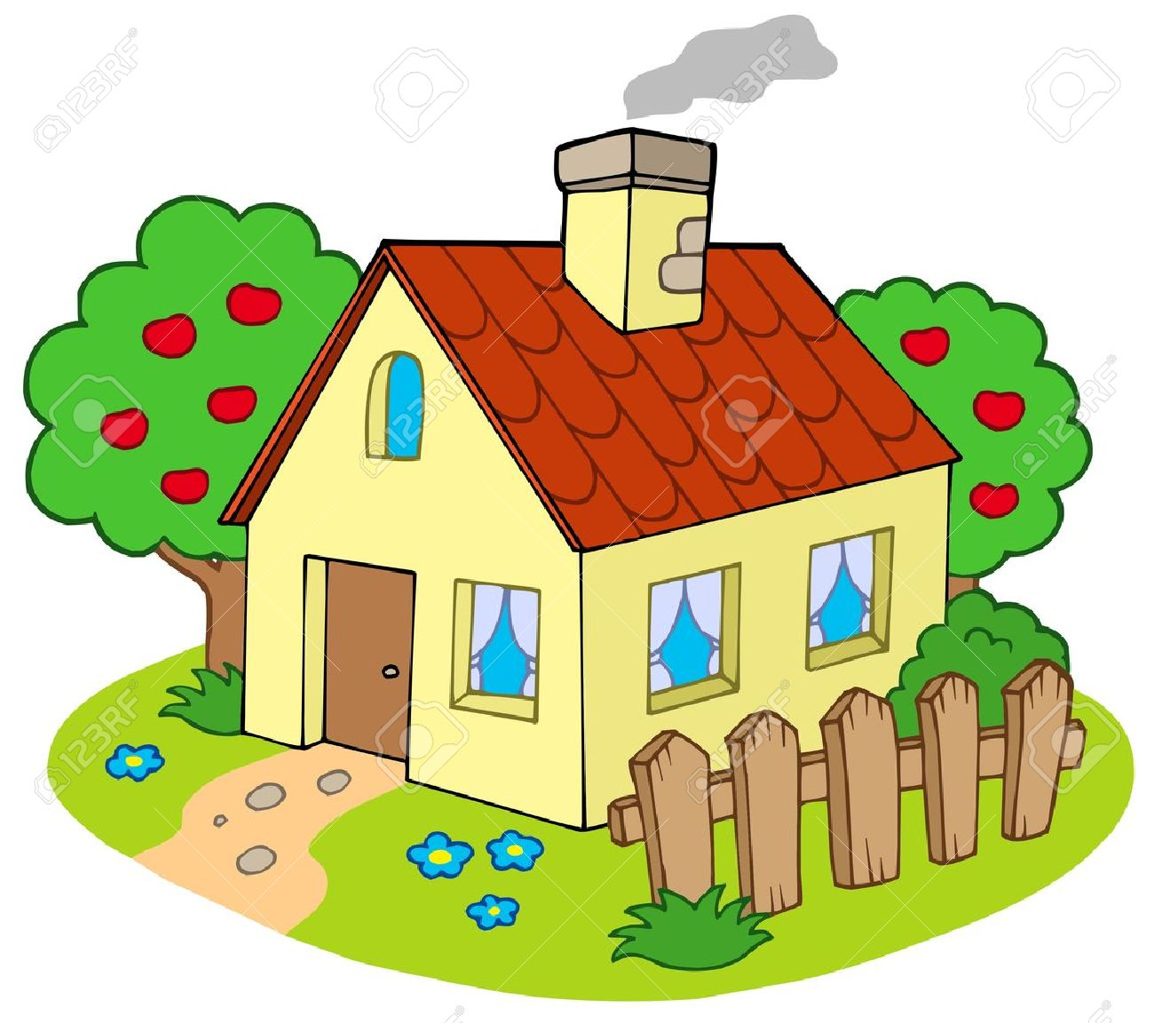 House with garden - vector illustration. Stock Vector - 5096936