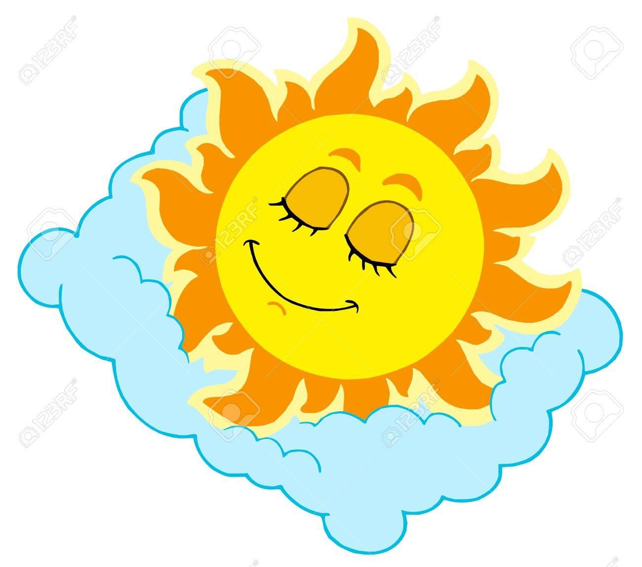 Sleeping Sun on cloudy pillow - vector illustration. Stock Vector - 5151553