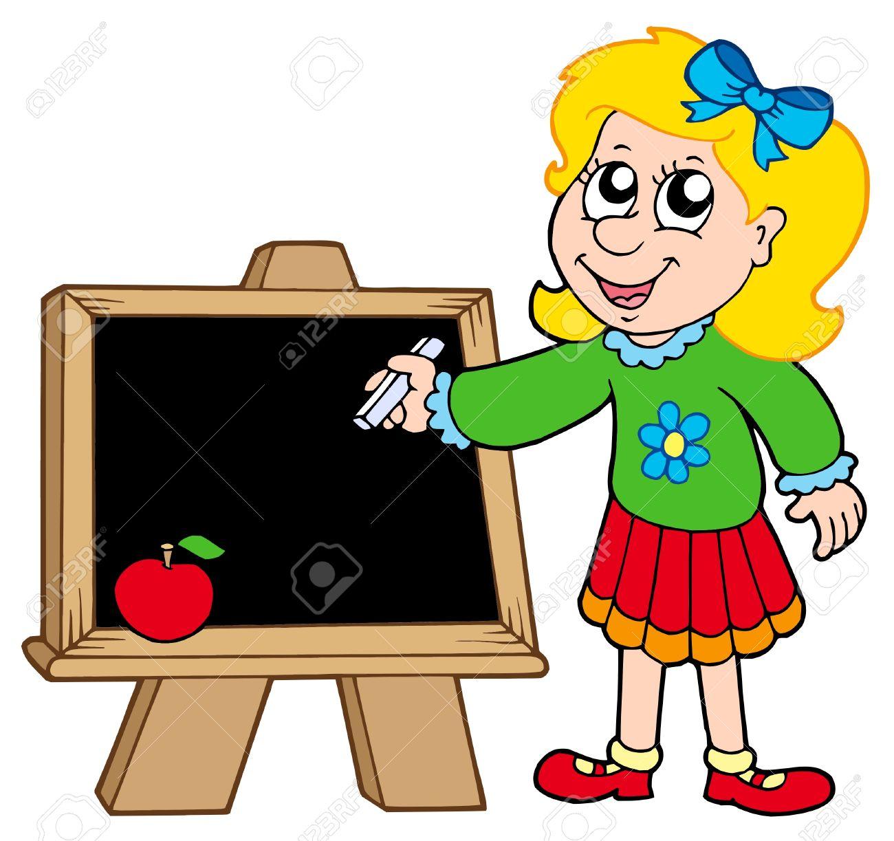 School girl writing on blackboard - vector illustration. Stock Vector - 5192840