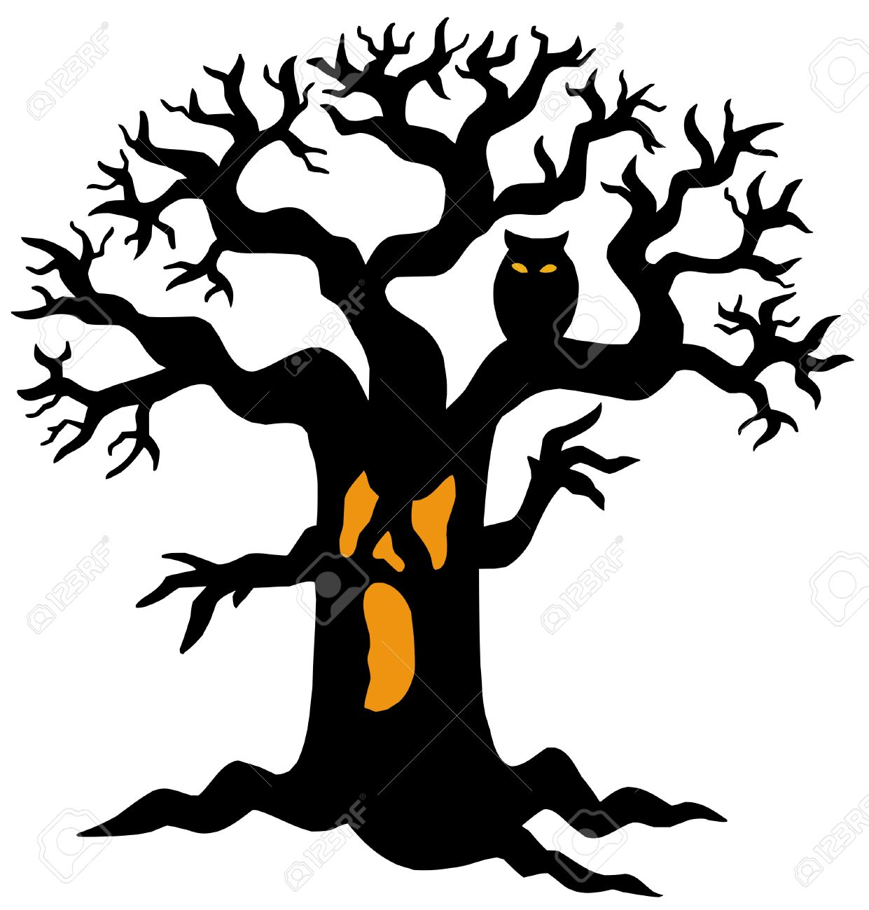 spooky tree silhouette vector illustration royalty free cliparts rh 123rf com Spooky Leaves Clip Art Scary Forest Clip Art