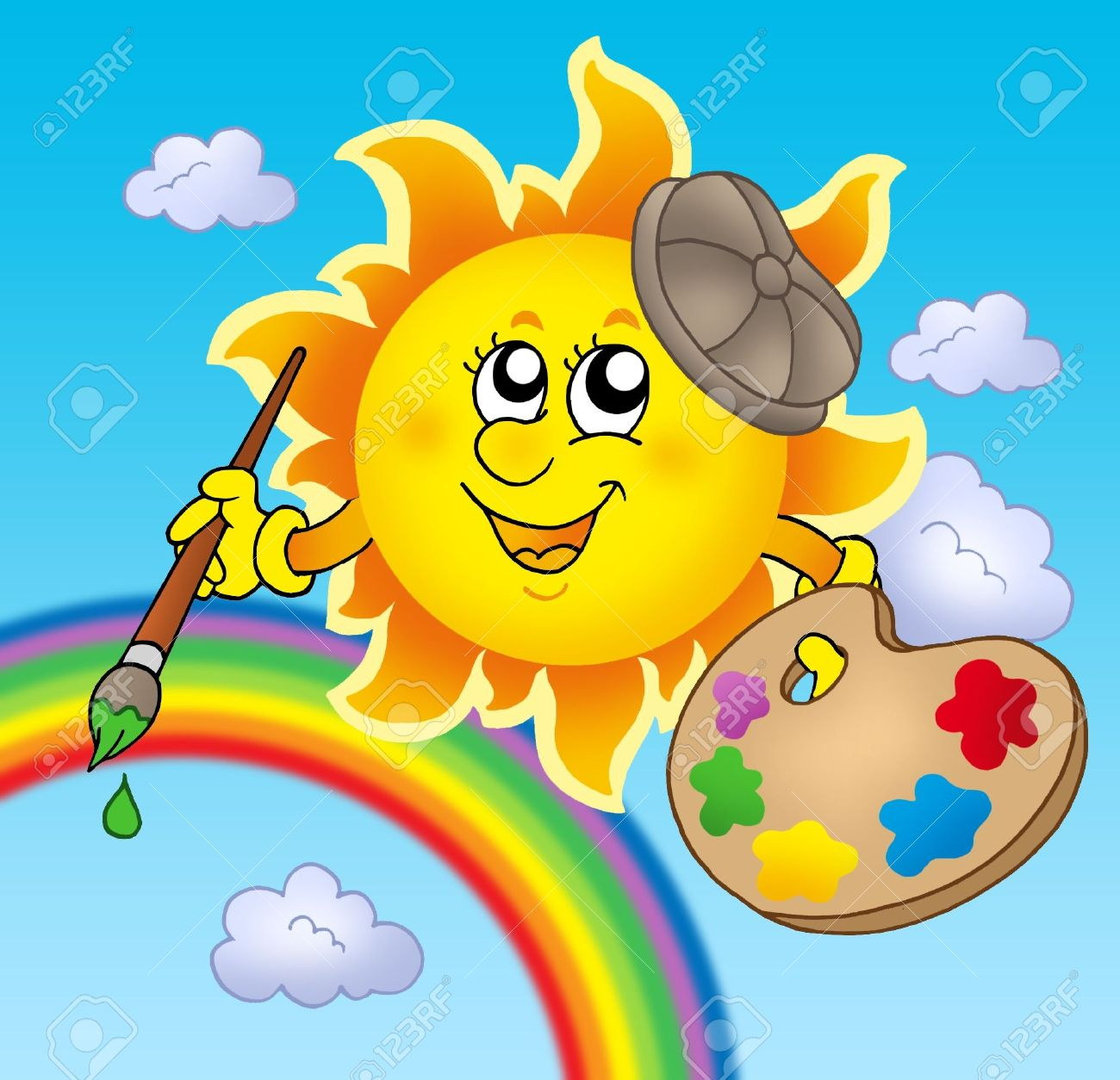 Sun artist with rainbow - color illustration. Stock Illustration - 5224438