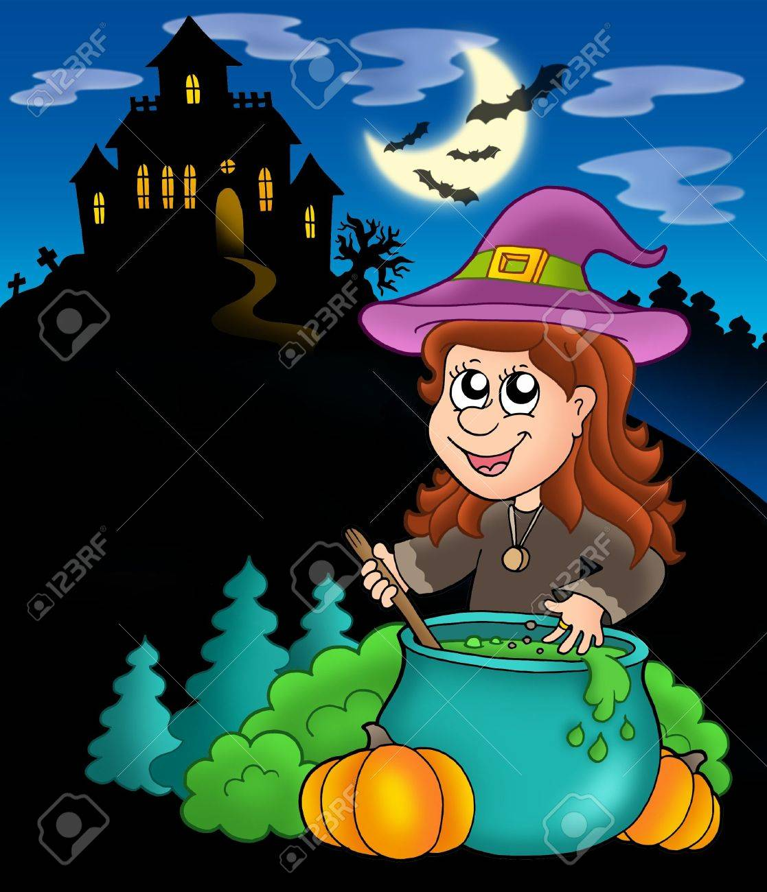 Wizard girl with haunted house - color illustration. Stock Photo - 5224447