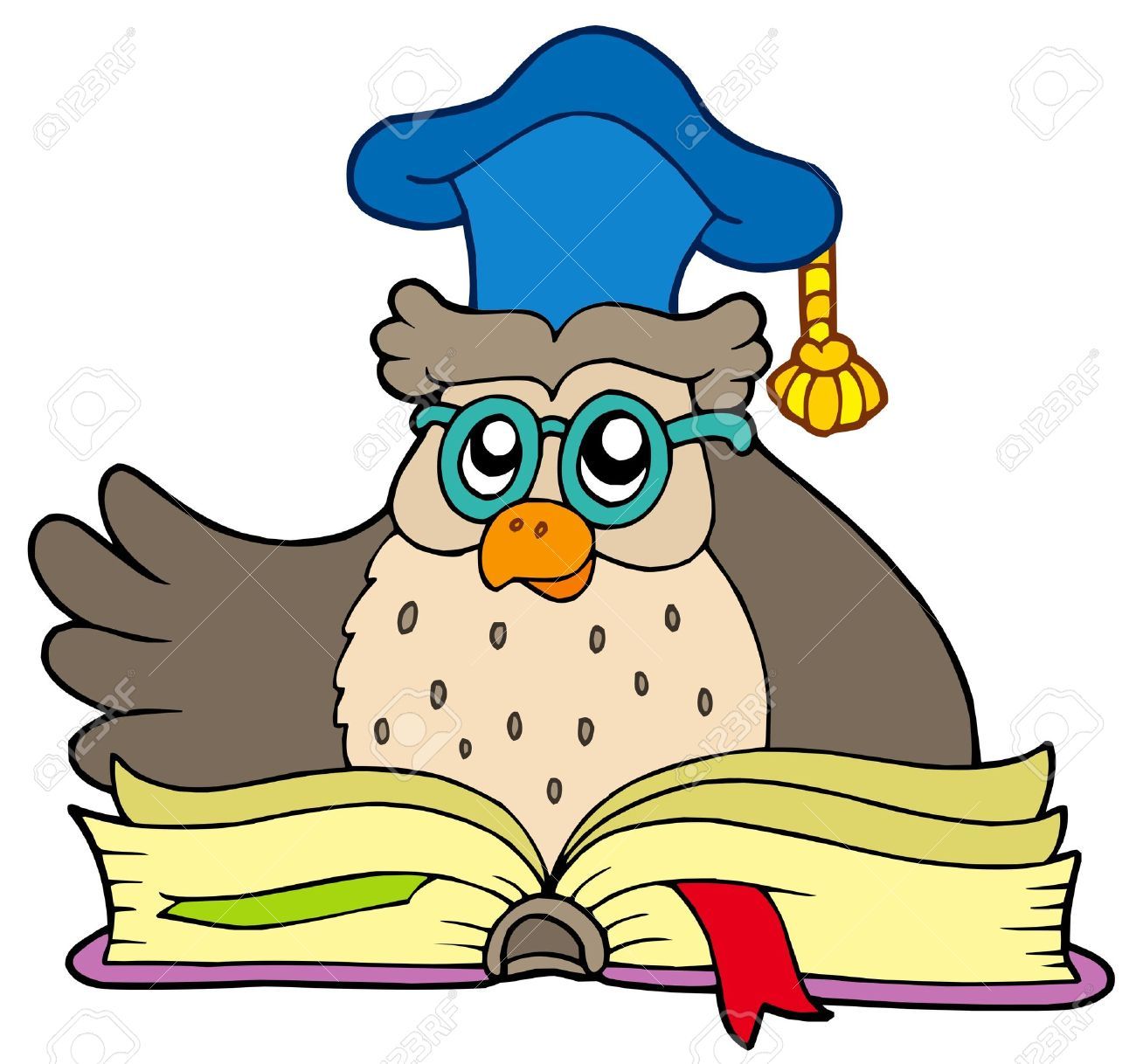 Cartoon owl teacher with book - vector illustration. Stock Vector - 5257712