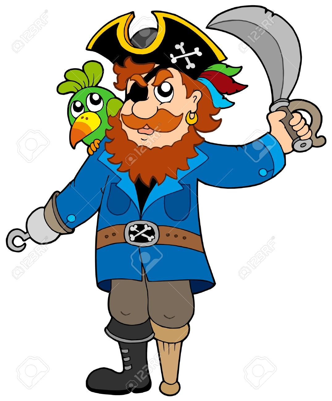 Pirate with parrot and sabre - vector illustration. Stock Vector - 5257717