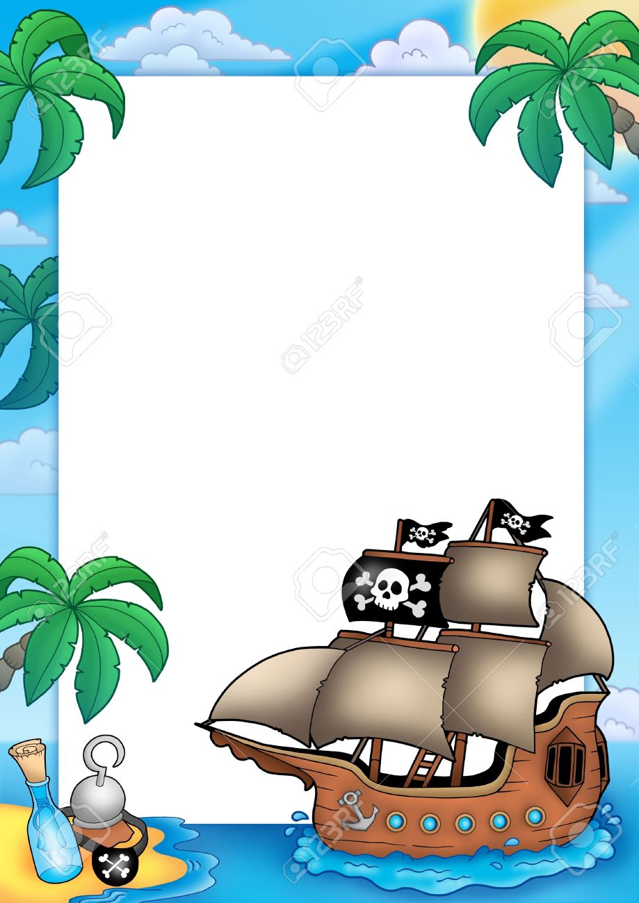 Frame With Pirate Ship - Color Illustration. Stock Photo, Picture ...