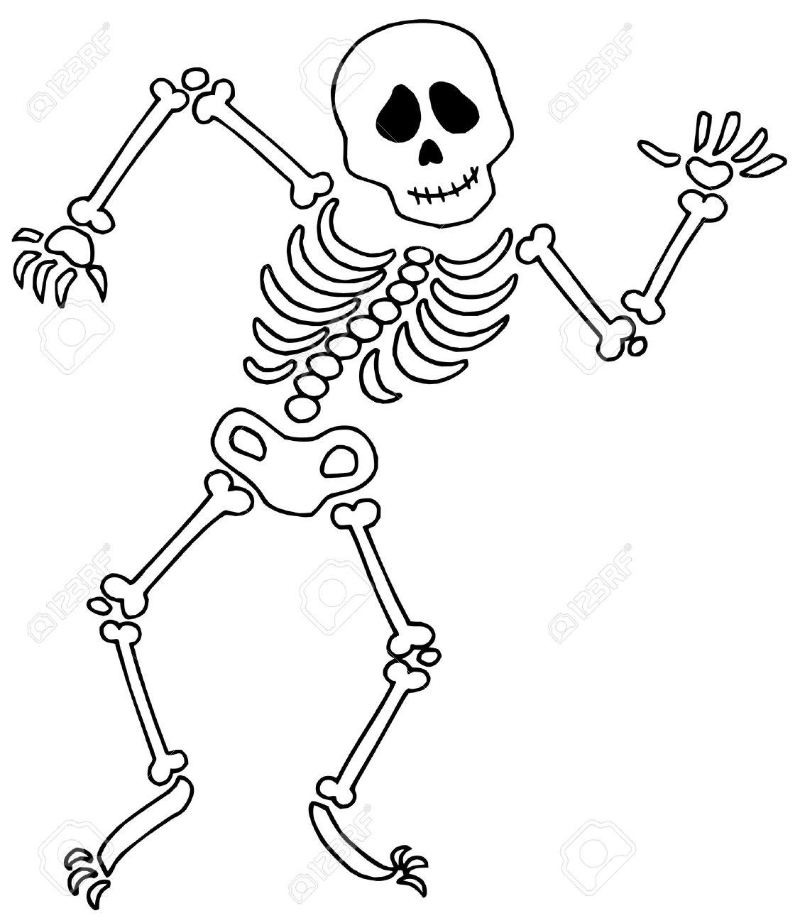Dancing Esqueleto En El Fondo Blanco - Ilustración Vectorial ...
