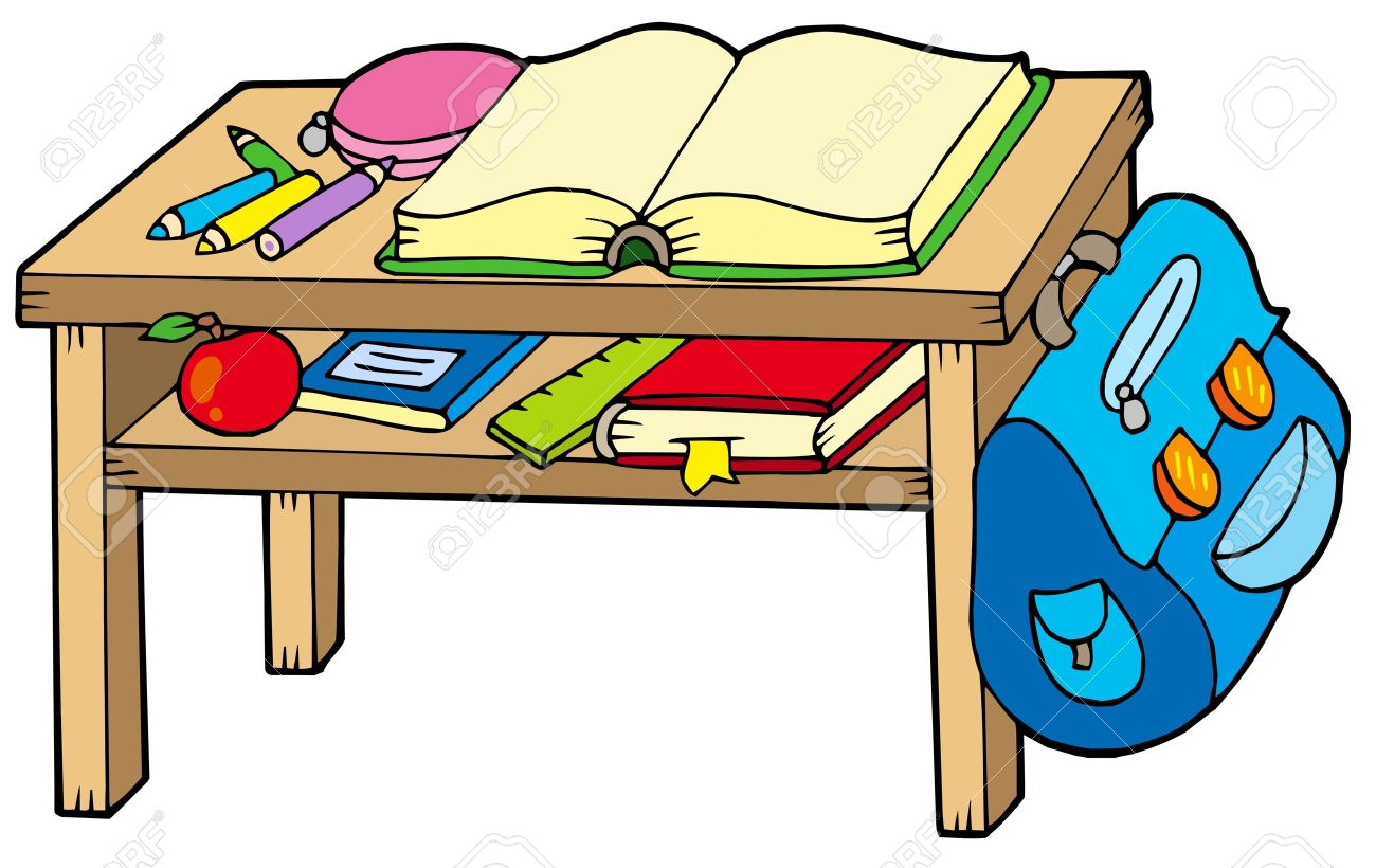 School Table On White Background - Vector Illustration. Royalty Free ... for School Table Clipart  157uhy