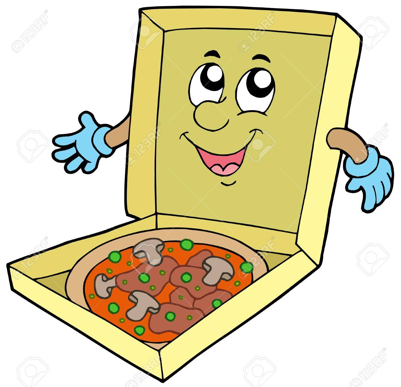 Cartoon pizza box - vector illustration. Stock Vector - 5384558