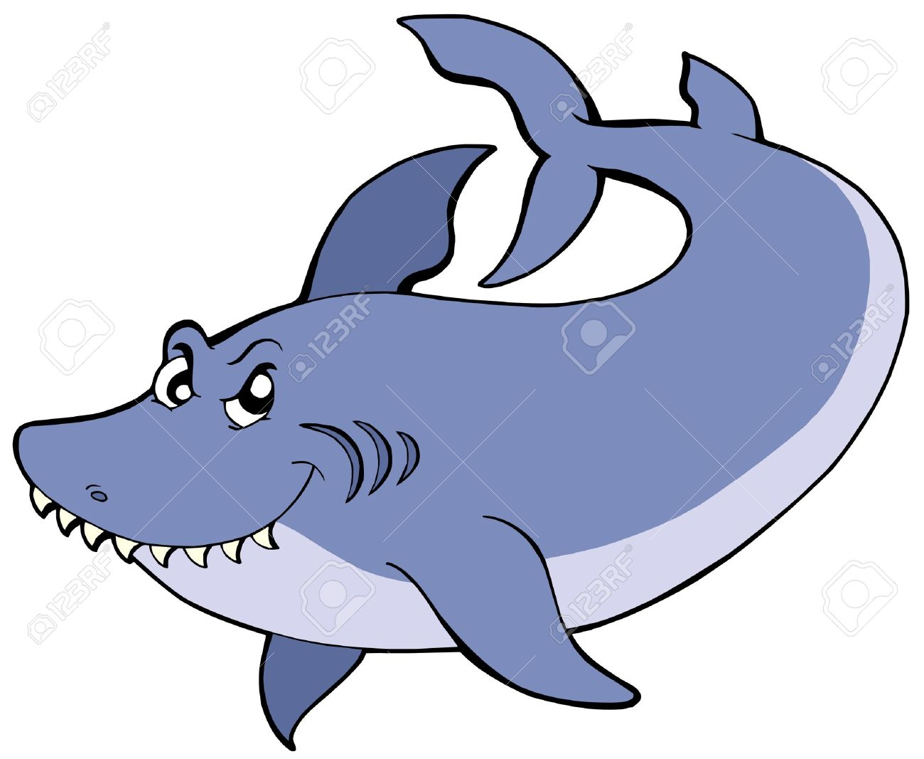 Big blue shark - vector illustration. Stock Vector - 5450830