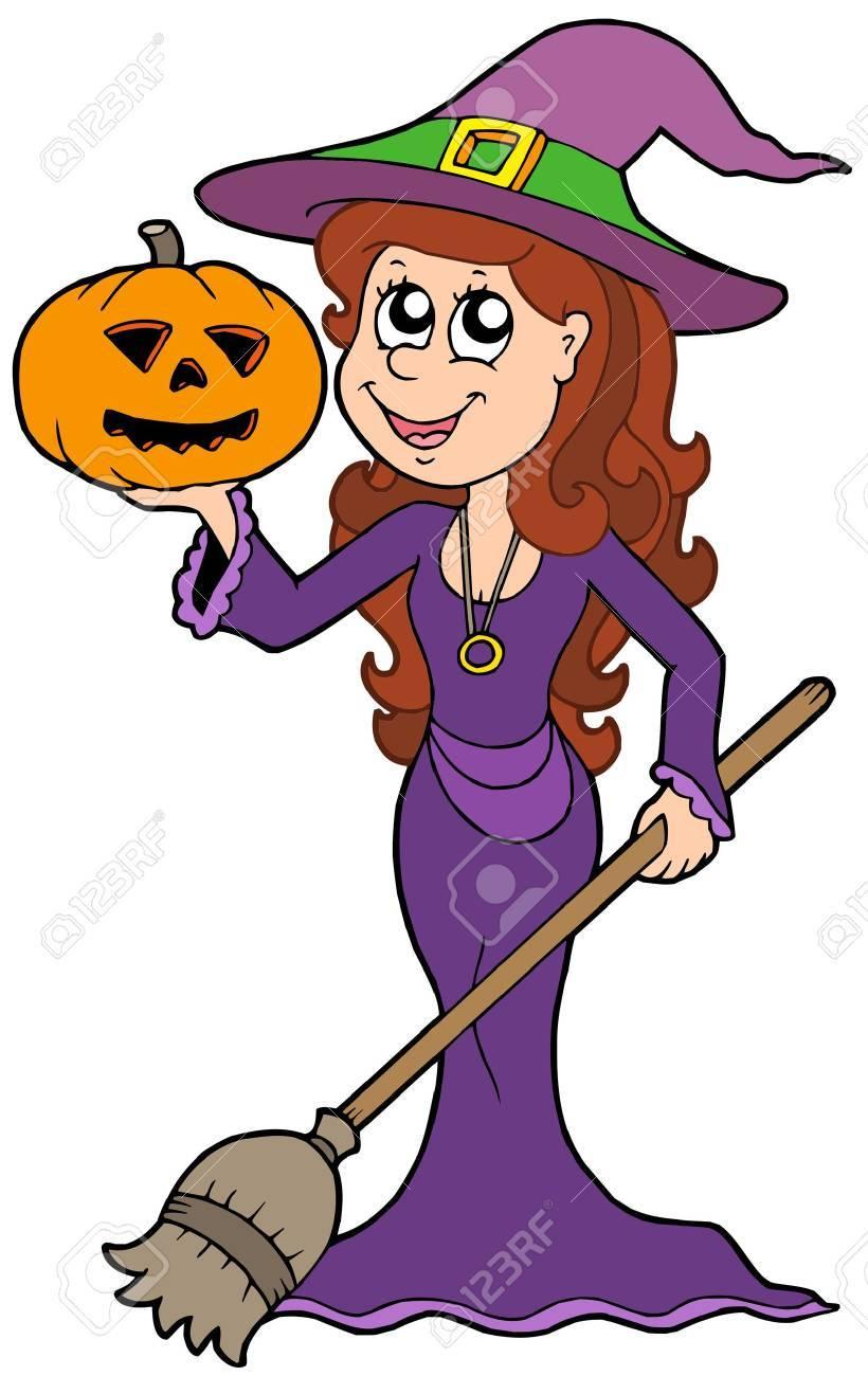 Halloween girl wizard - vector illustration. Stock Vector - 5450833
