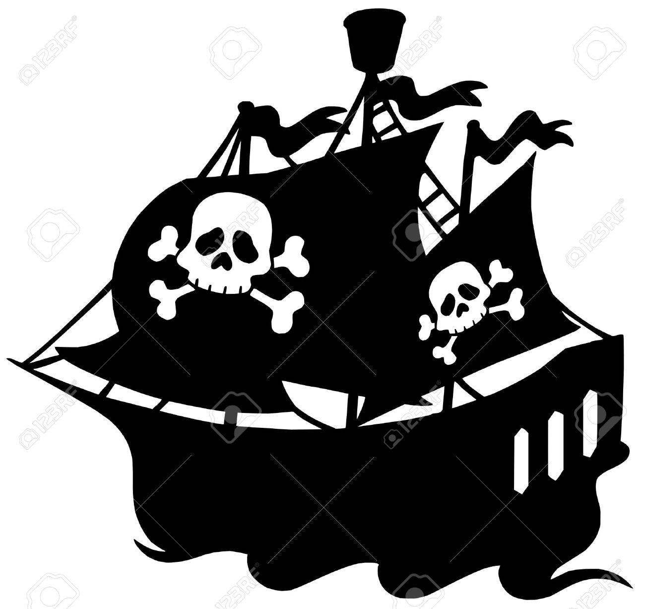 pirate ship silhouette vector illustration royalty free cliparts rh 123rf com cartoon pirate ship vector pirate ship vector image
