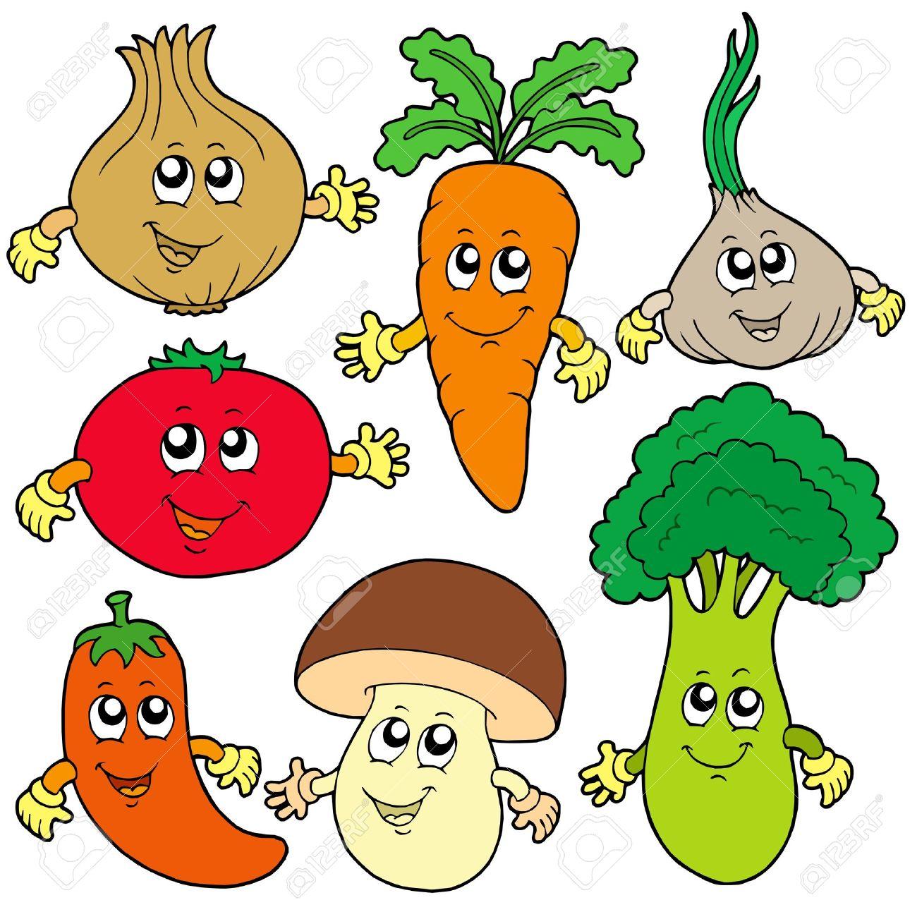 かわいい漫画の野菜コレクション - ベクトル イラスト。 ロイヤリティ