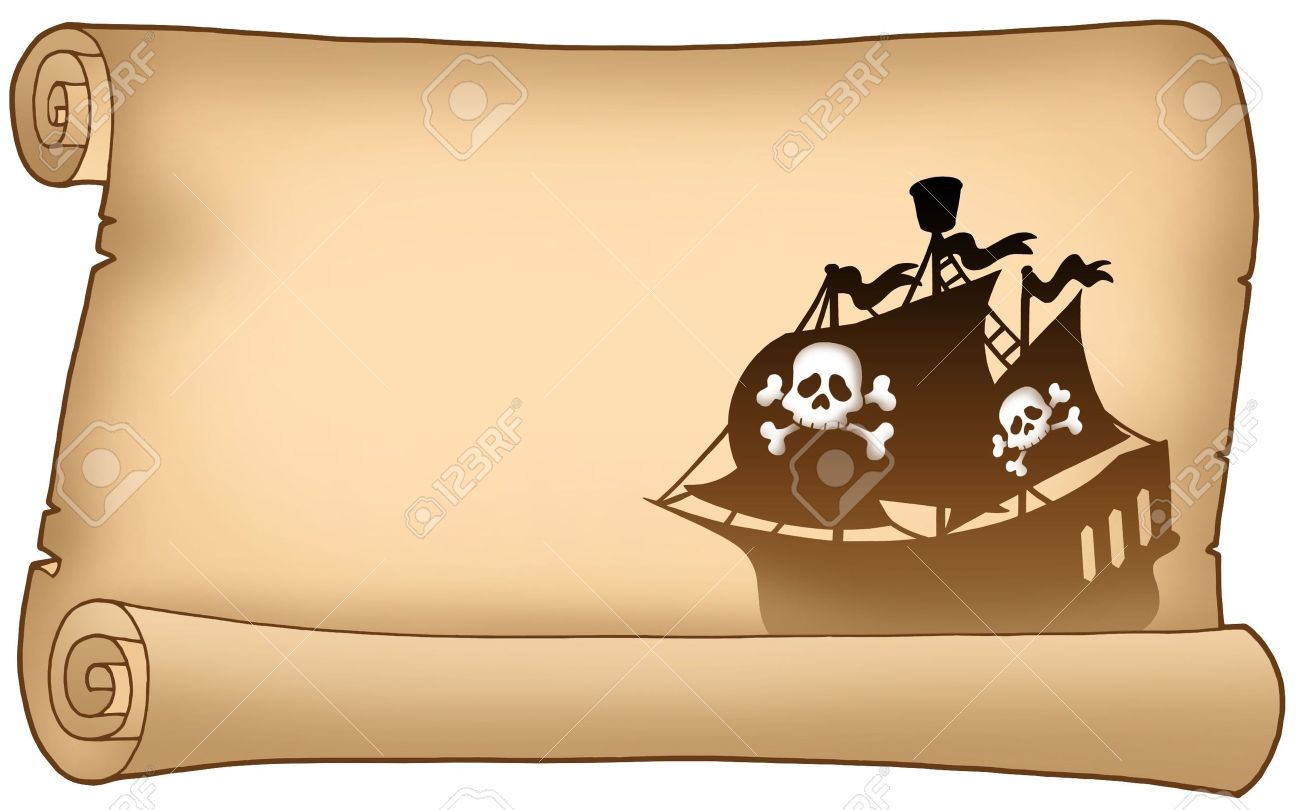 Parchment with pirate ship silhouette - color illustration. Stock Illustration - 5492774
