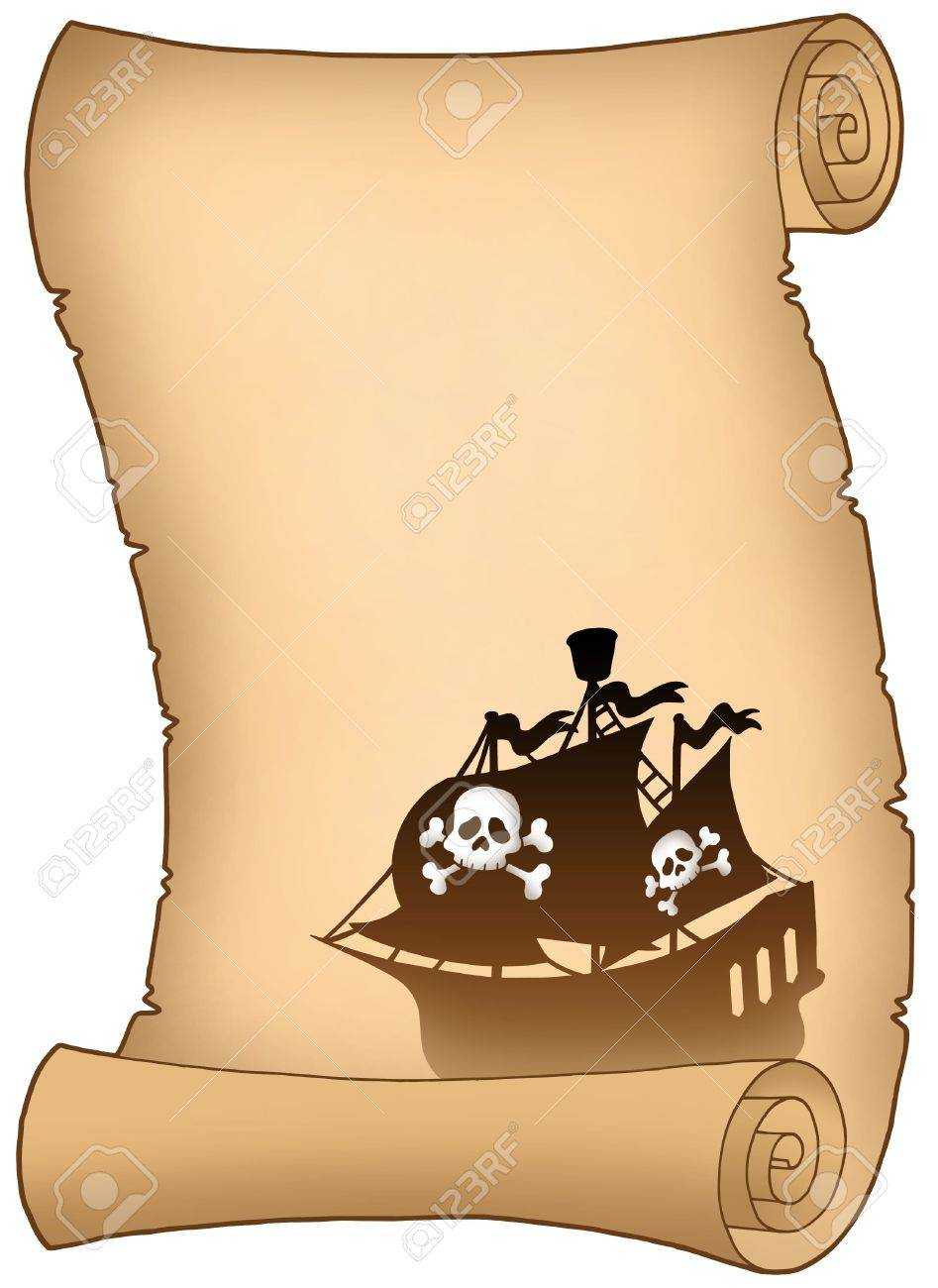 Scroll with pirate ship silhouette - color illustration. Stock Illustration - 5492773