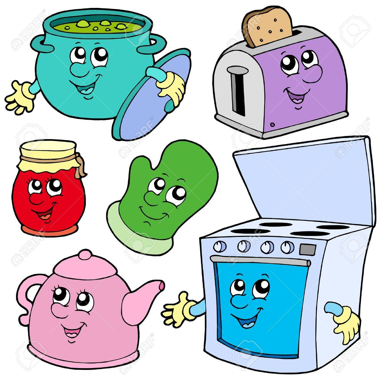 Cocina Dibujos Animados Sobre Fondo Blanco Ilustración Vectorial