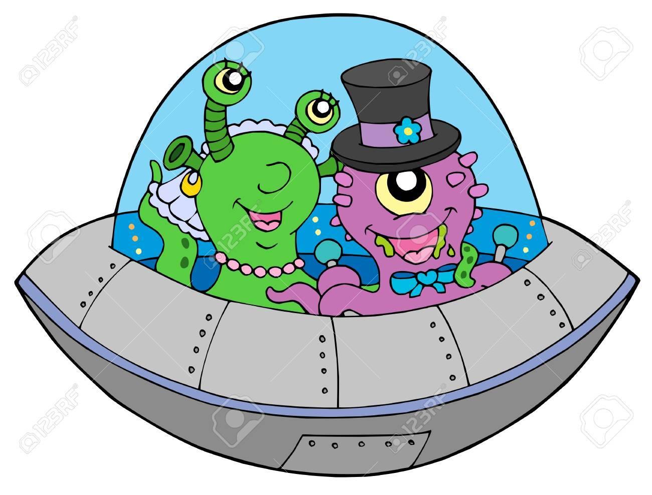 UFO wedding on white background - vector illustration. Stock Vector - 5621155