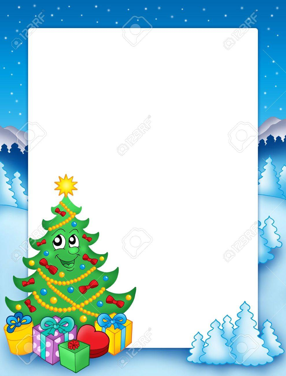 Christmas frame with tree 1 - color illustration. Stock Illustration - 5665258