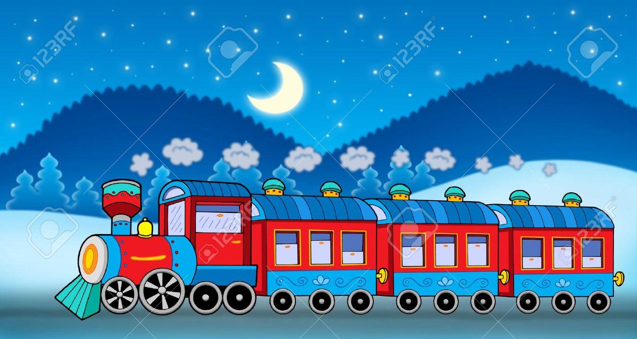 train in winter landscape color illustration stock photo
