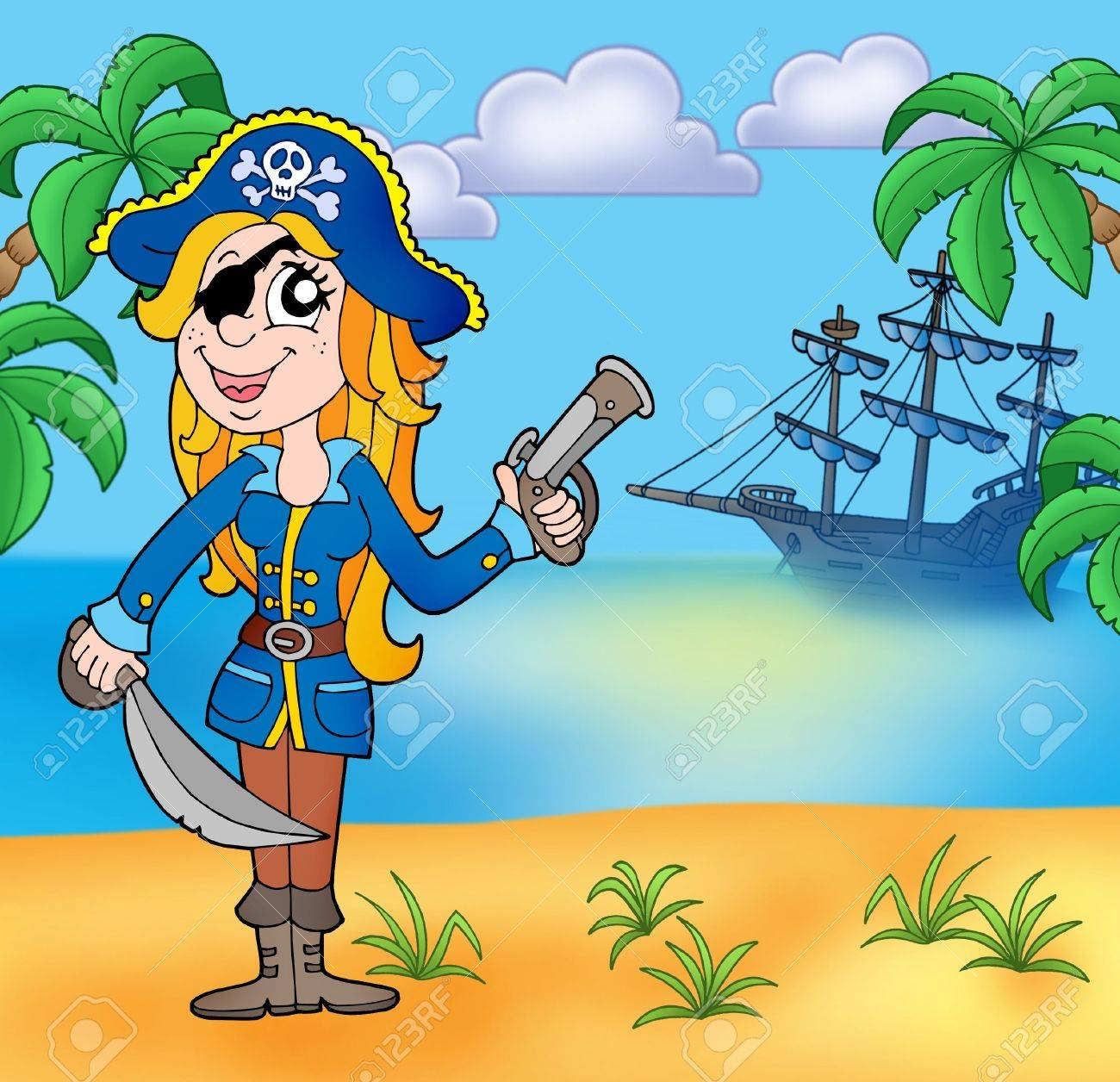 Pirate girl on beach 3 - color illustration. Stock Photo - 5741612