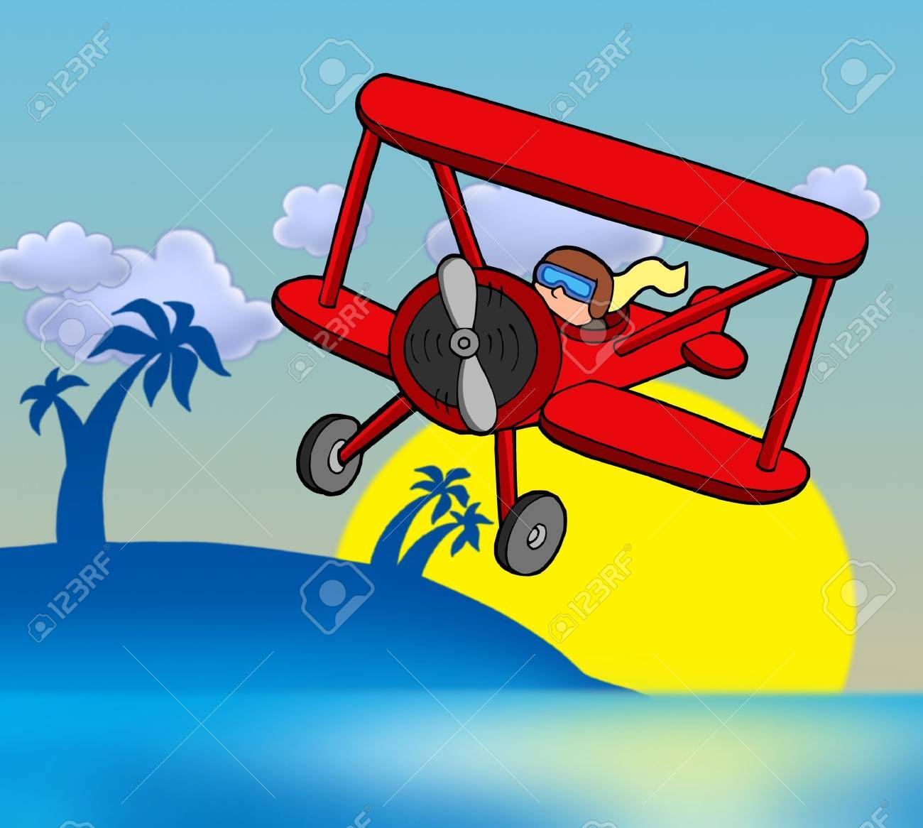 Sunset with biplane - color illustration. Stock Illustration - 5766603