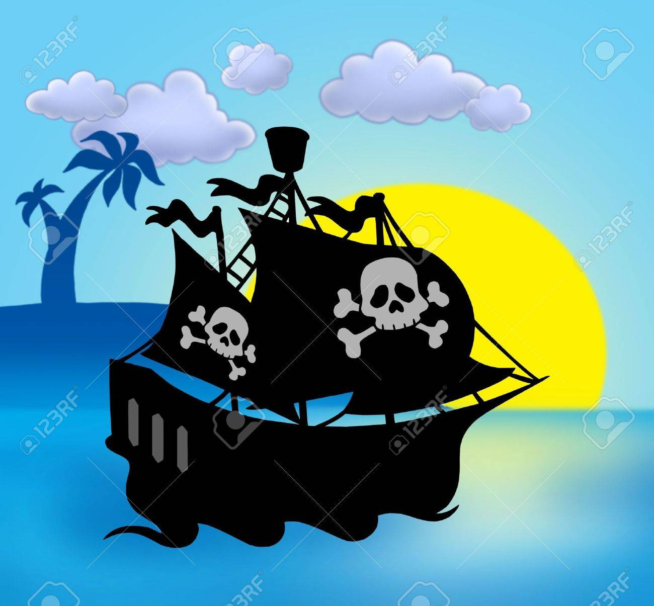 sunset with pirate ship silhouette color illustration stock