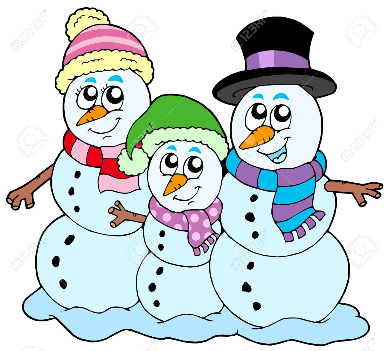 snowman family on white background royalty free cliparts vectors rh 123rf com Snowman Hat Clip Art Snowman Hat Clip Art