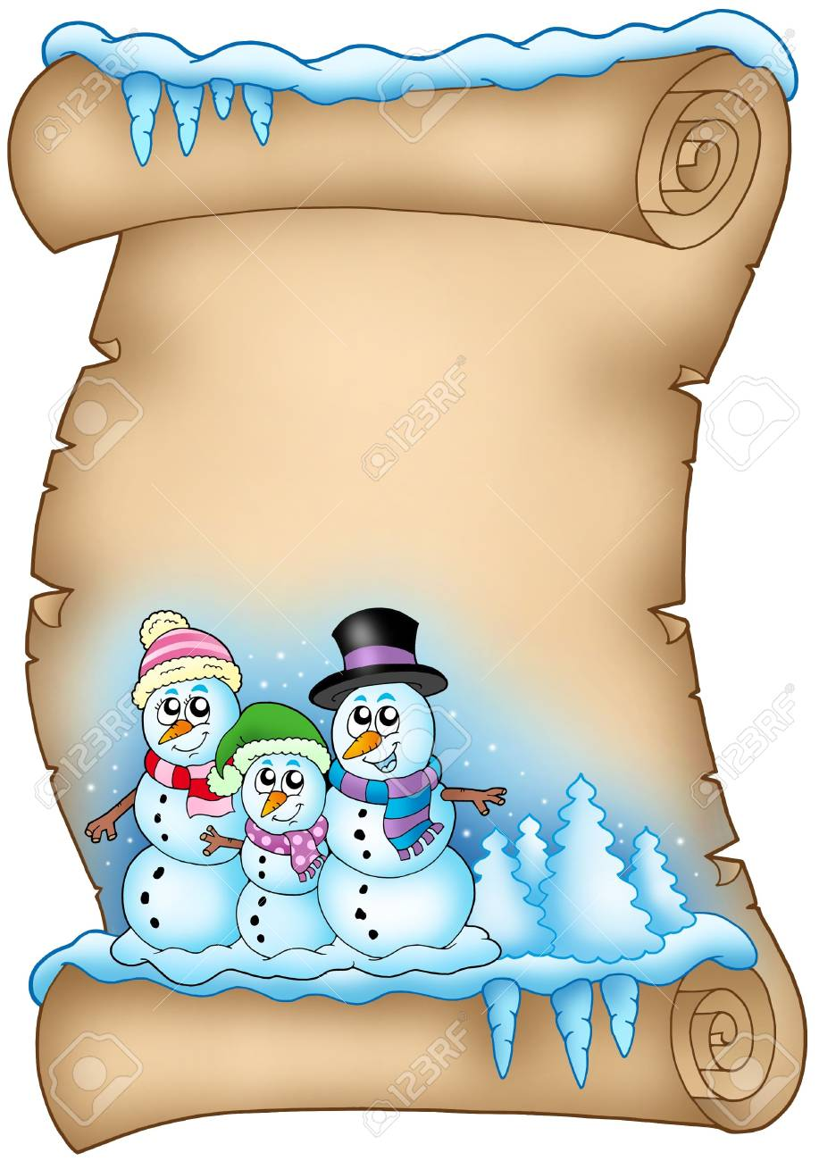 Winter parchment with snowman family - color illustration. Stock Illustration - 5783128