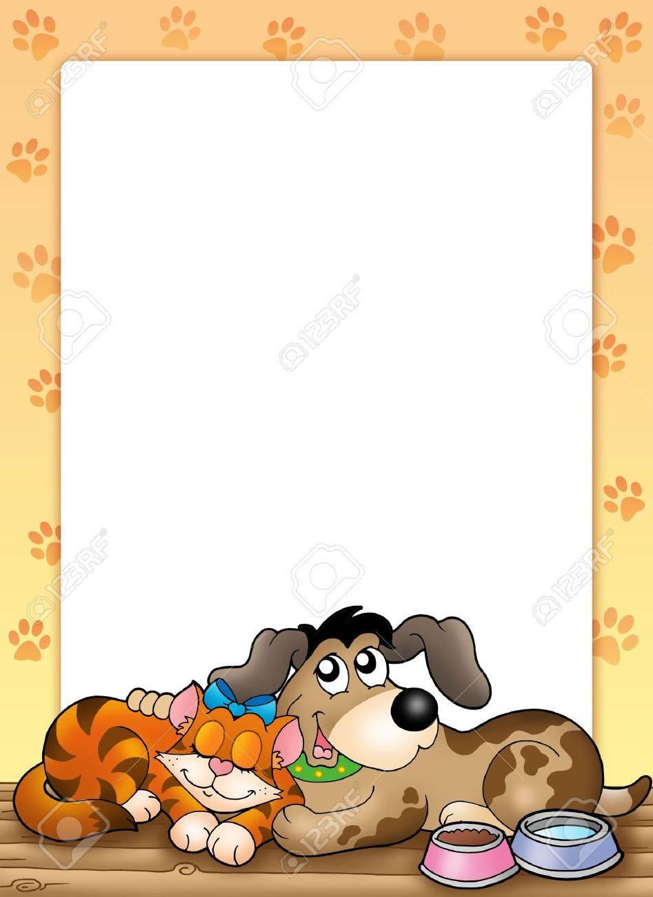Marco Con Lindo Gato Y Perro - Ilustración En Color. Fotos, Retratos ...
