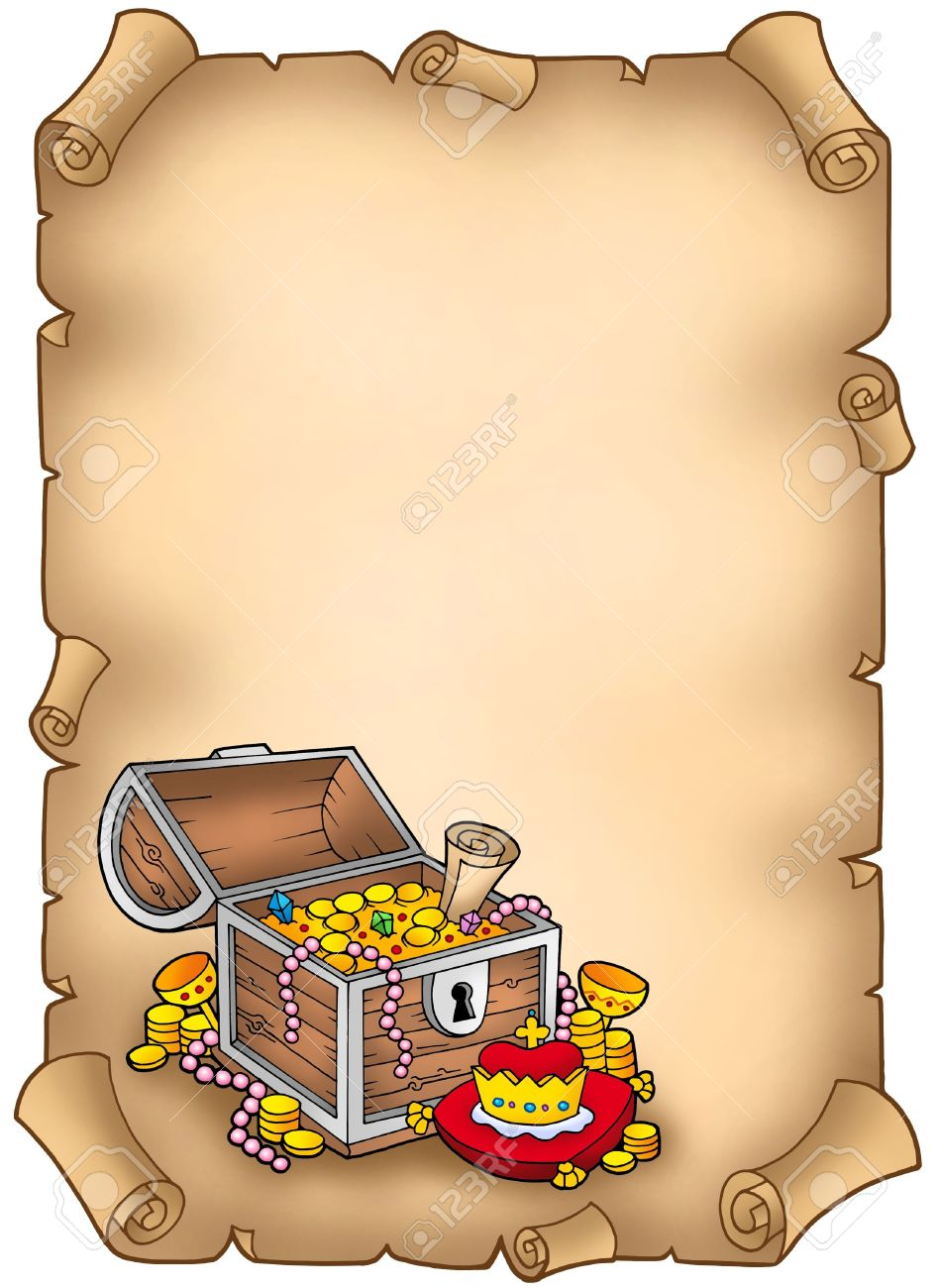 Parchment With Big Treasure Chest