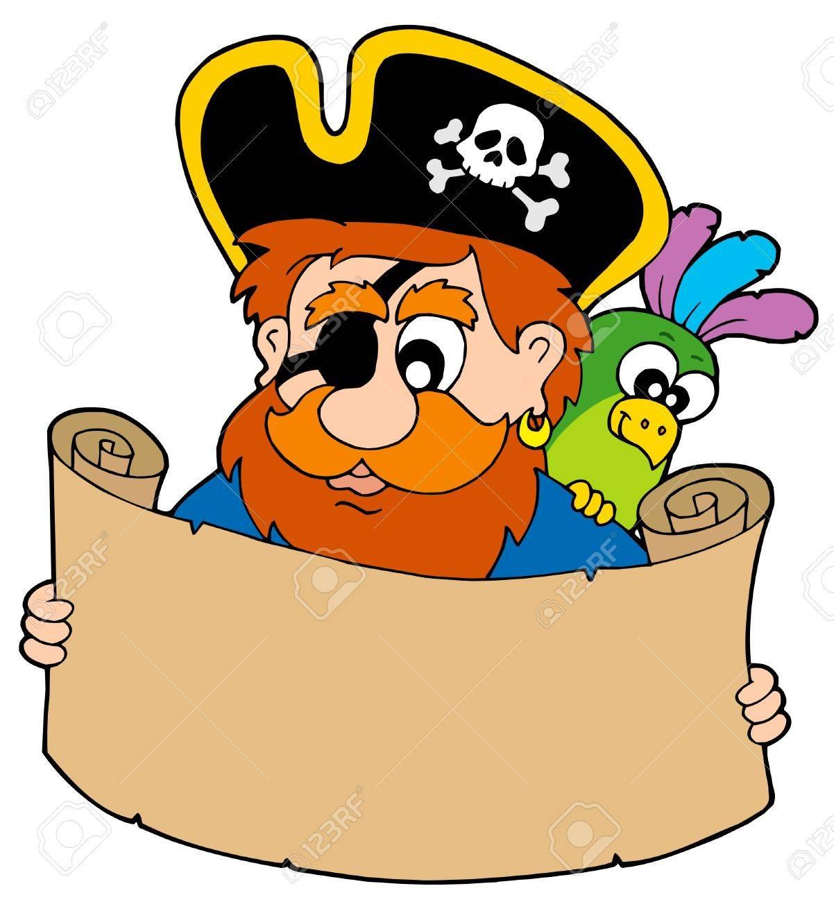 Pirate reading treasure map - vector illustration. Stock Vector - 5931553