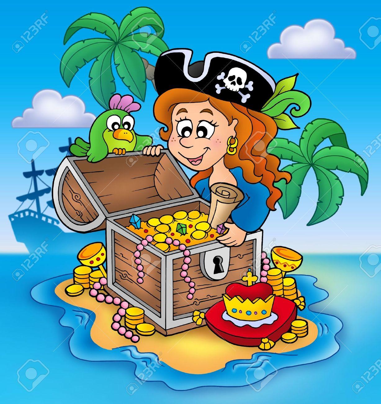 Pirate Girl And Treasure - Color Illustration. Stock Photo, Picture ...