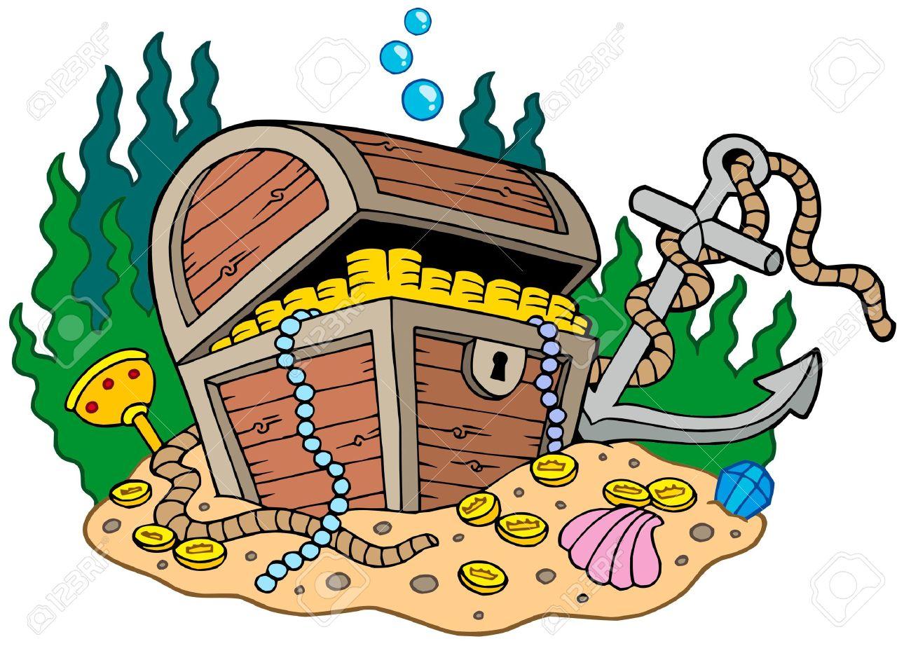 Treasure chest on sea bottom - vector illustration. Stock Vector - 6016887