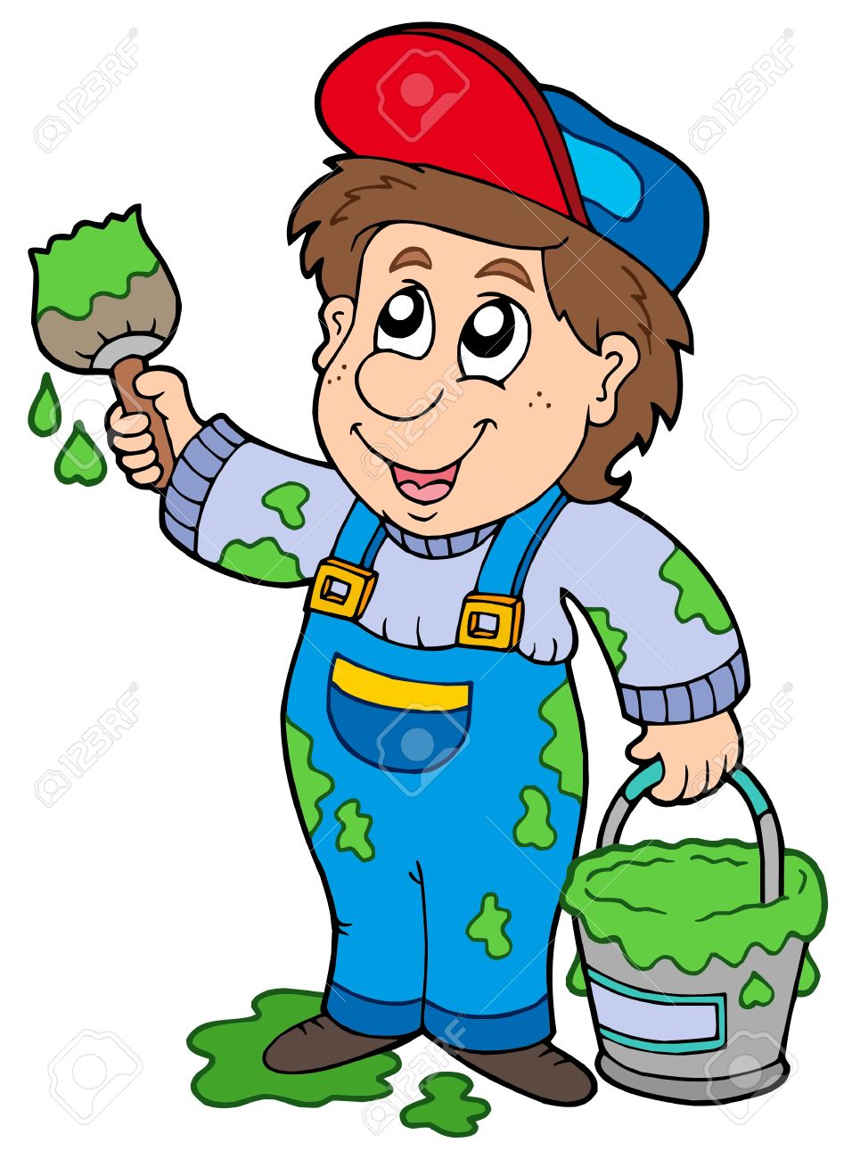 Cartoon house painter - vector illustration. Stock Vector - 6029235