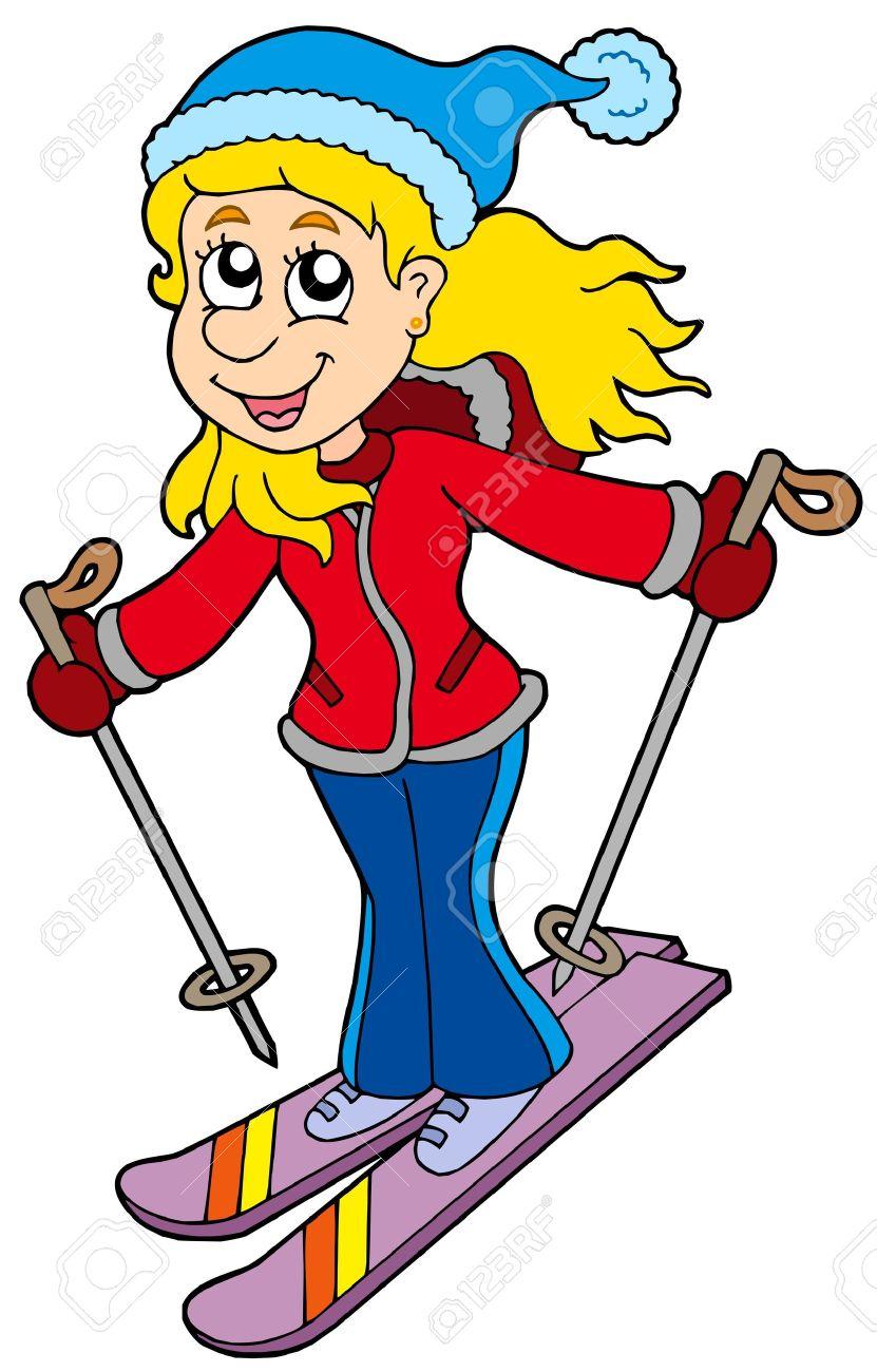 cartoon skiing woman - vector illustration. royalty free cliparts
