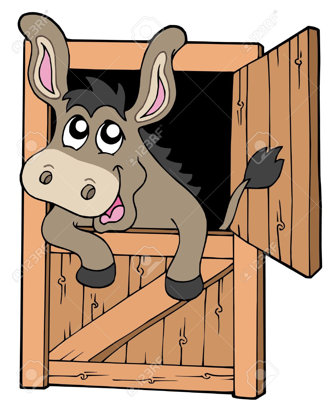 Cute donkey in stable - vector illustration. - 6092592