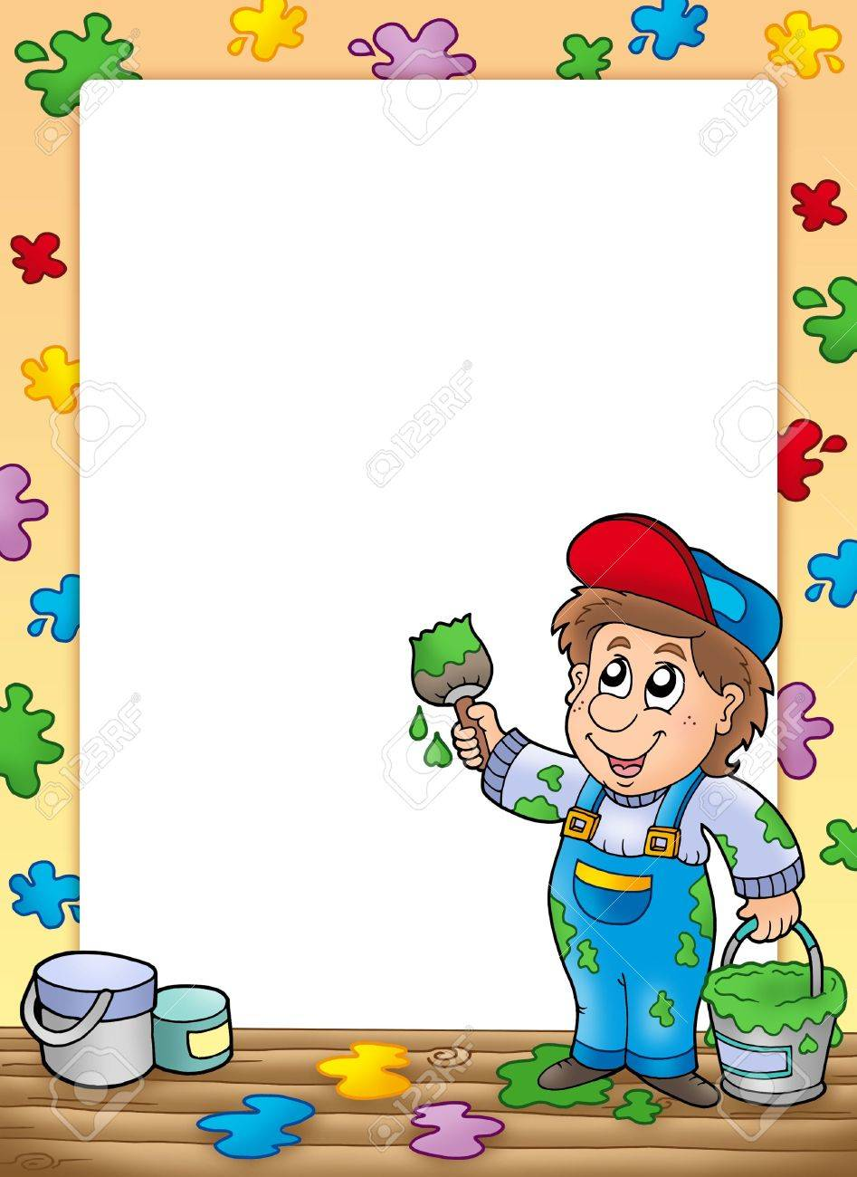 Frame with cartoon house painter - color illustration. Stock Illustration - 6123987