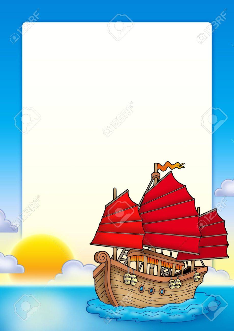 frame with chinese ship color illustration stock photo picture