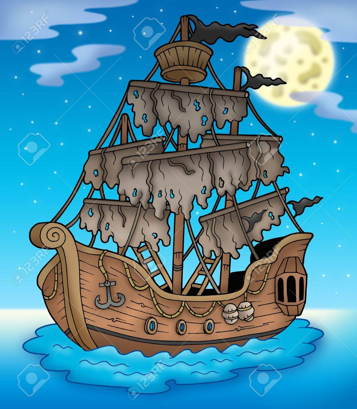 Mysterious ship with full Moon - color illustration. Stock Illustration - 6123970